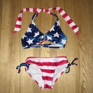 Red white and blue bikini